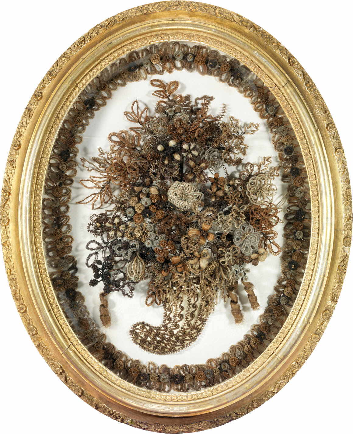 Nosegay with border, signed on reverse by Mrs. William J. Smith, Brookline, New Hampshire, gilt gesso, wood, glass, paper, wire, and human hair using gimp work, 1860-61.