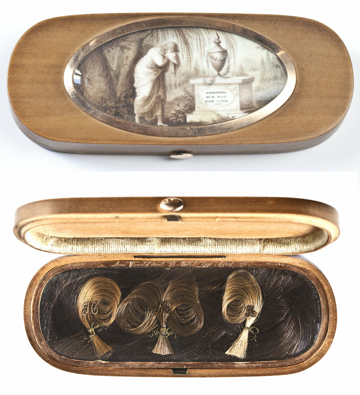 <em>Farewell but not For Ever</em> box, inscribed to Ann Woodd, who died in 1791, made with gold, Ivory, sandal wood, sepia, leather, satin, dissolved human hair, and woven hair, using dissolved hair sepia painting and palette work.