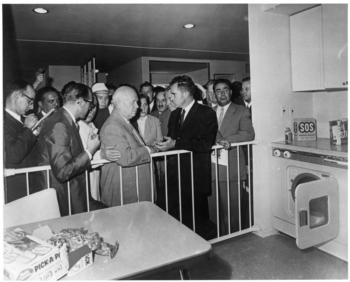 Richard Nixon and Nikita Khrushchev at the Kitchen Debate.