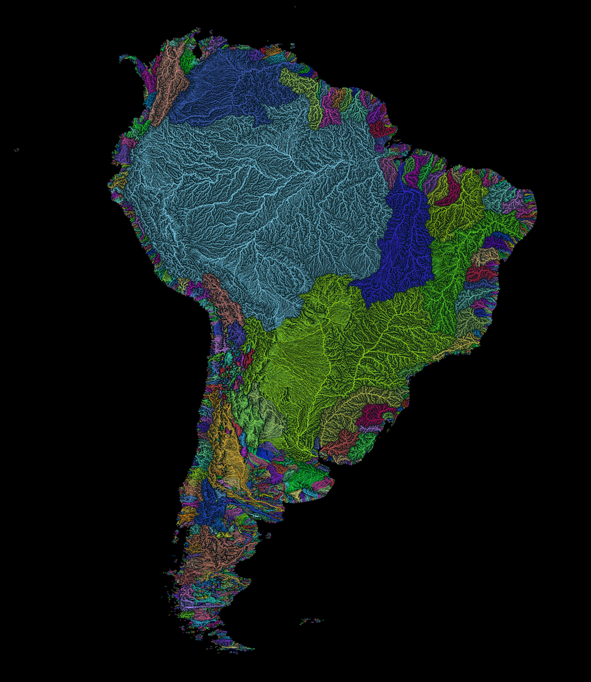 River basins of South America.