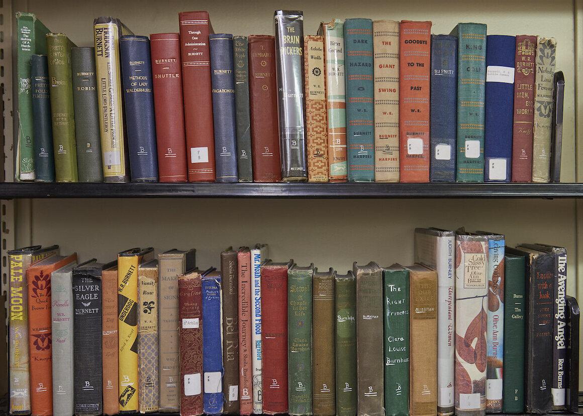 Shelves in the fiction stacks.