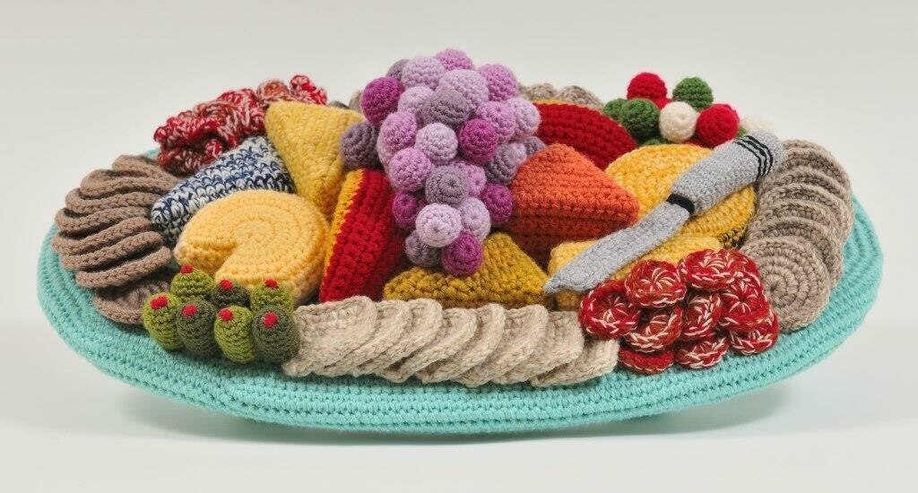 A crocheted cheese platter that's too good to be true.