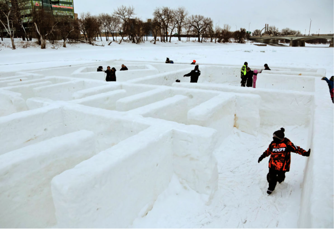 """Ice Maze"" from 2016 provides fun and a break from the wind."