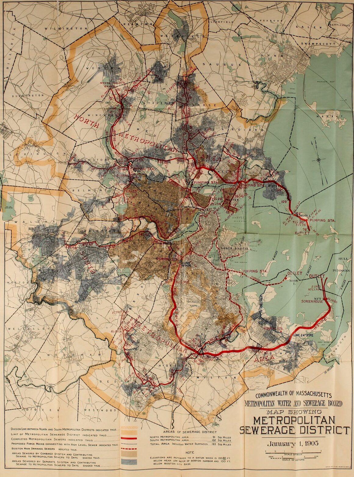 A map of Boston's sewers, circa 1905.