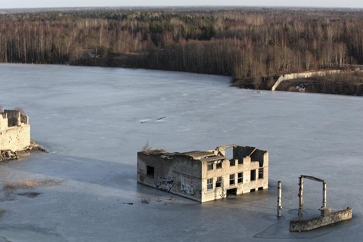 The sunken Soviet-era prison Rummu, Estonia.