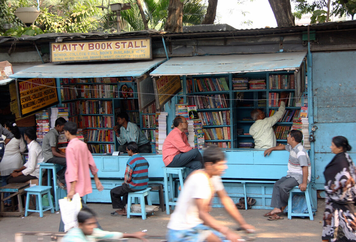 A collection of book sellers in Kolkata, India.