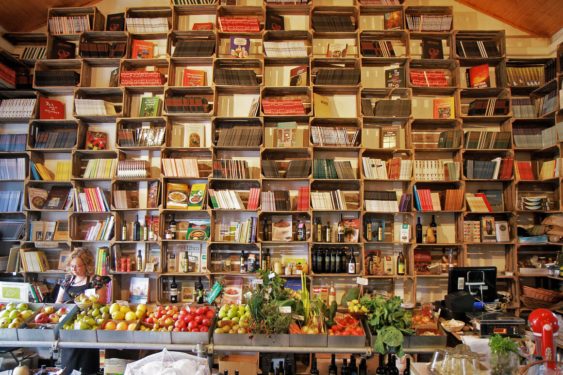 A market doubles as a bookstore in Obidos, Portugal.