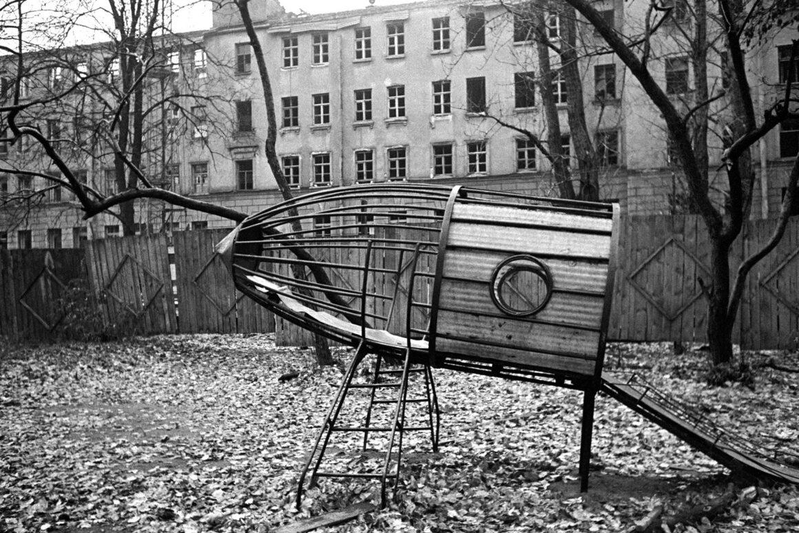 <em>A children's playground, Krasnoy Konnitsy (Red Cavalry) Street, Leningrad</em>, 1978.