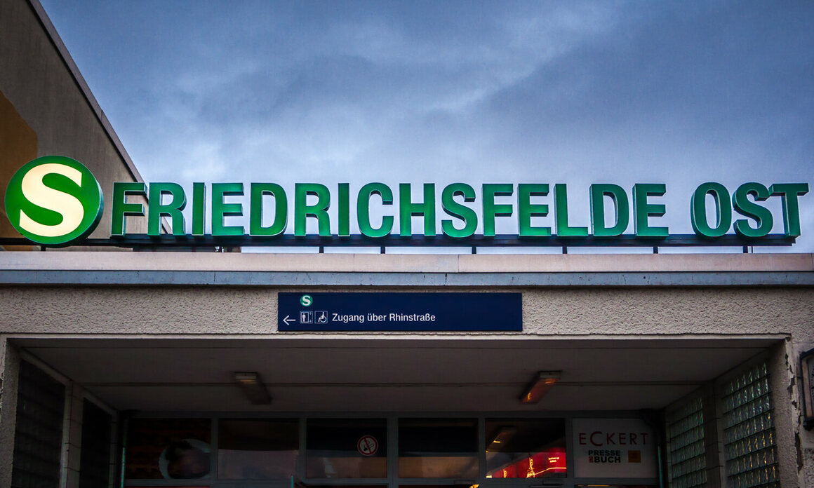 Friedrichsfelde Ost station, in the Lichtenberg neighborhood.