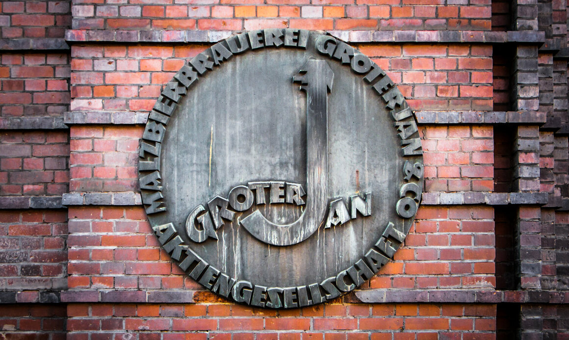 A plaque for the Groterjan beer inset into brick by the former brewery's entrance on Prinzenstraße; the site is now offices.