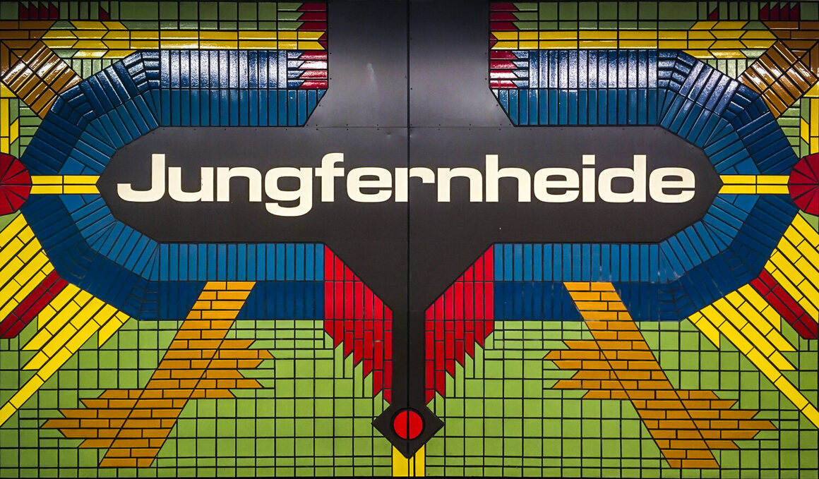 The mosaic sign for Jungfernheide station.