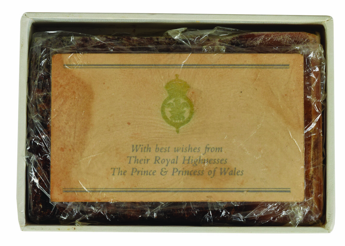 Princess Diana and Prince Charles's wedding cake, sent as a souvenir to one Dorothy Blake.