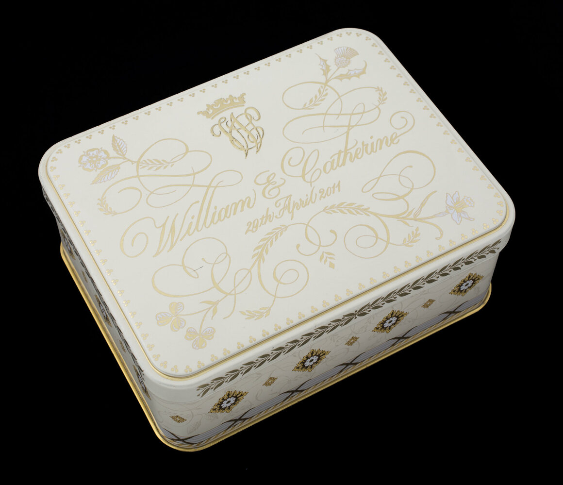 This tin contains the wedding cake of Prince William and Kate Middleton, the last in a line of royal wedding fruitcakes.