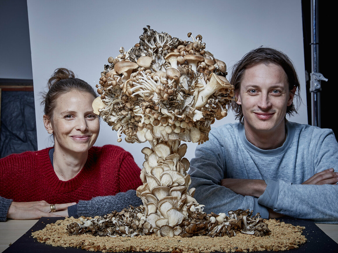 Hargreaves and Levin in front of one of their creations.