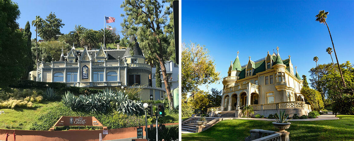 The exteriors of the Magic Castle (left) and Kimberly Crest.