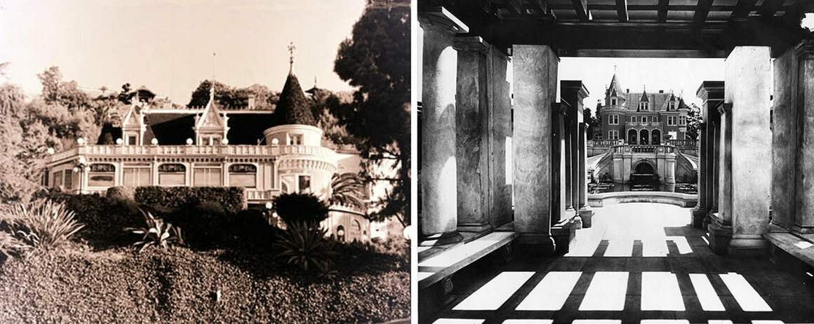 Lane Residence, which became the Magic Castle, (left) and Kimberly Crest when first built.