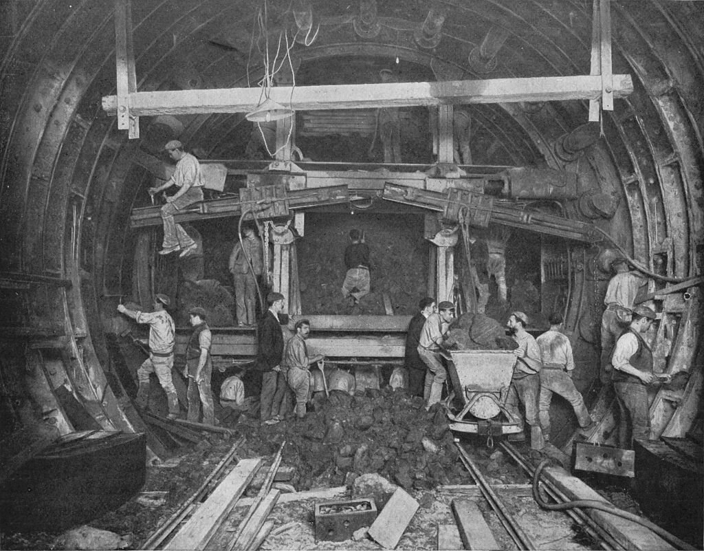 Excavating for the London Underground, Great Northern and City Railway, London, c. 1903.