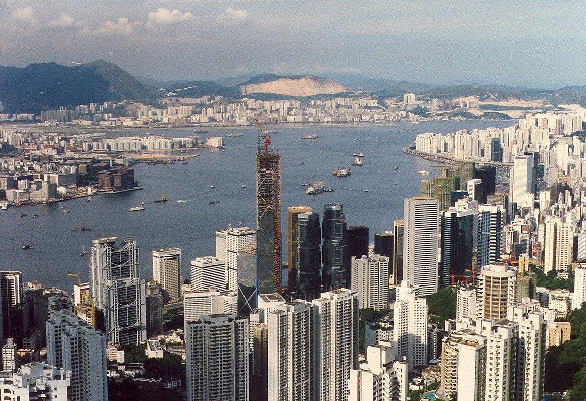 Hong Kong's Bank of China building under construction, 1988.