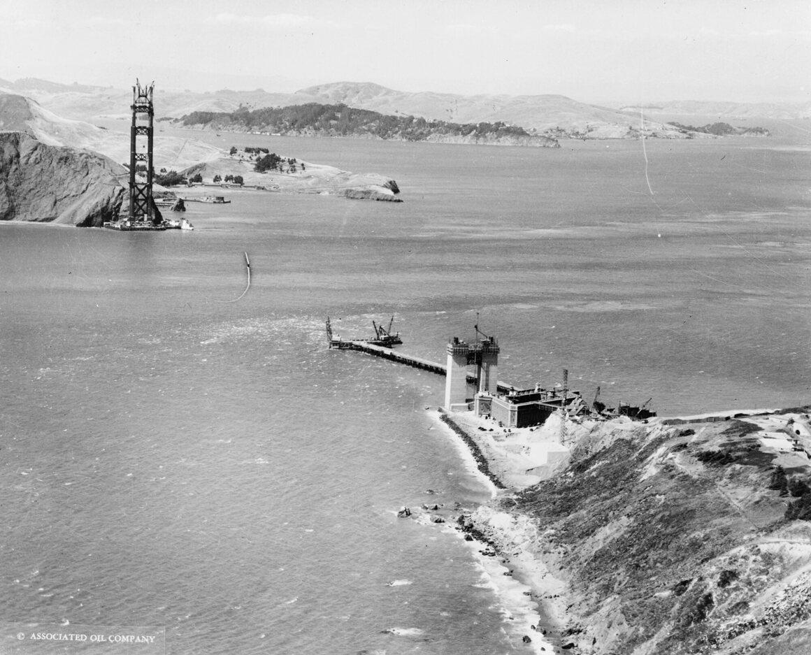 The beginnings of the Golden Gate Bridge, 1934.