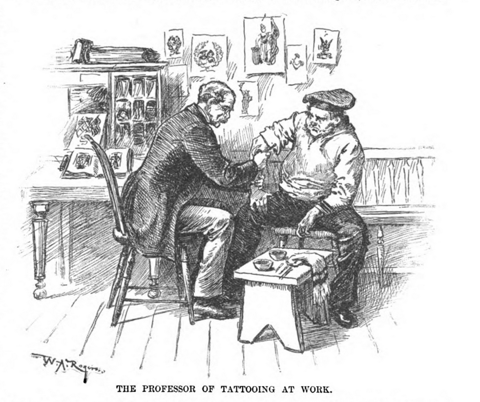 "The tattooist Professor Thomas, who inked sailors, the ""elderly, and well-to-do merchants and ladies in silk attire,"" in an 1889 illustration from <em>Harper's Weekly</em>."