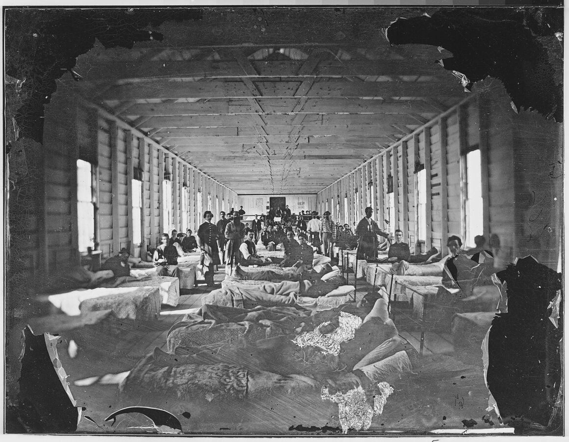 Wounded soldiers in a hospital c. 1860–65.