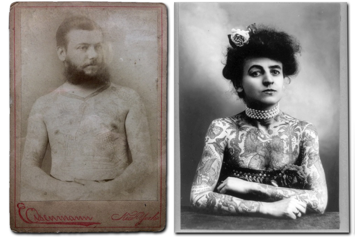 "Captain DeCoursey, a client of Martin Hildebrandt; tattoo artist Mrs. M. Stevens Wagner (wife of  Augustus ""Gus"" Wagner), c. 1907."