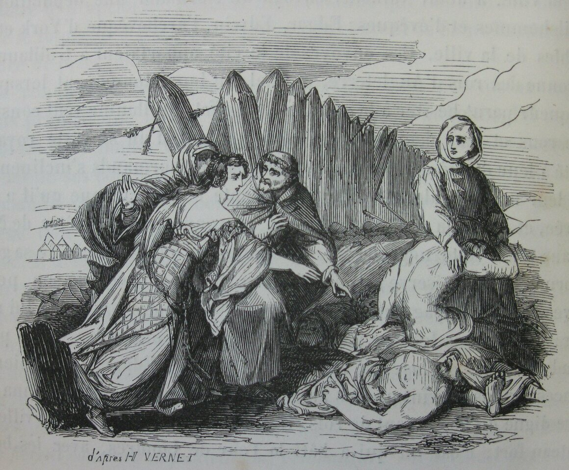 Edith identifying the body of Harold II, in an illustration from 1844.