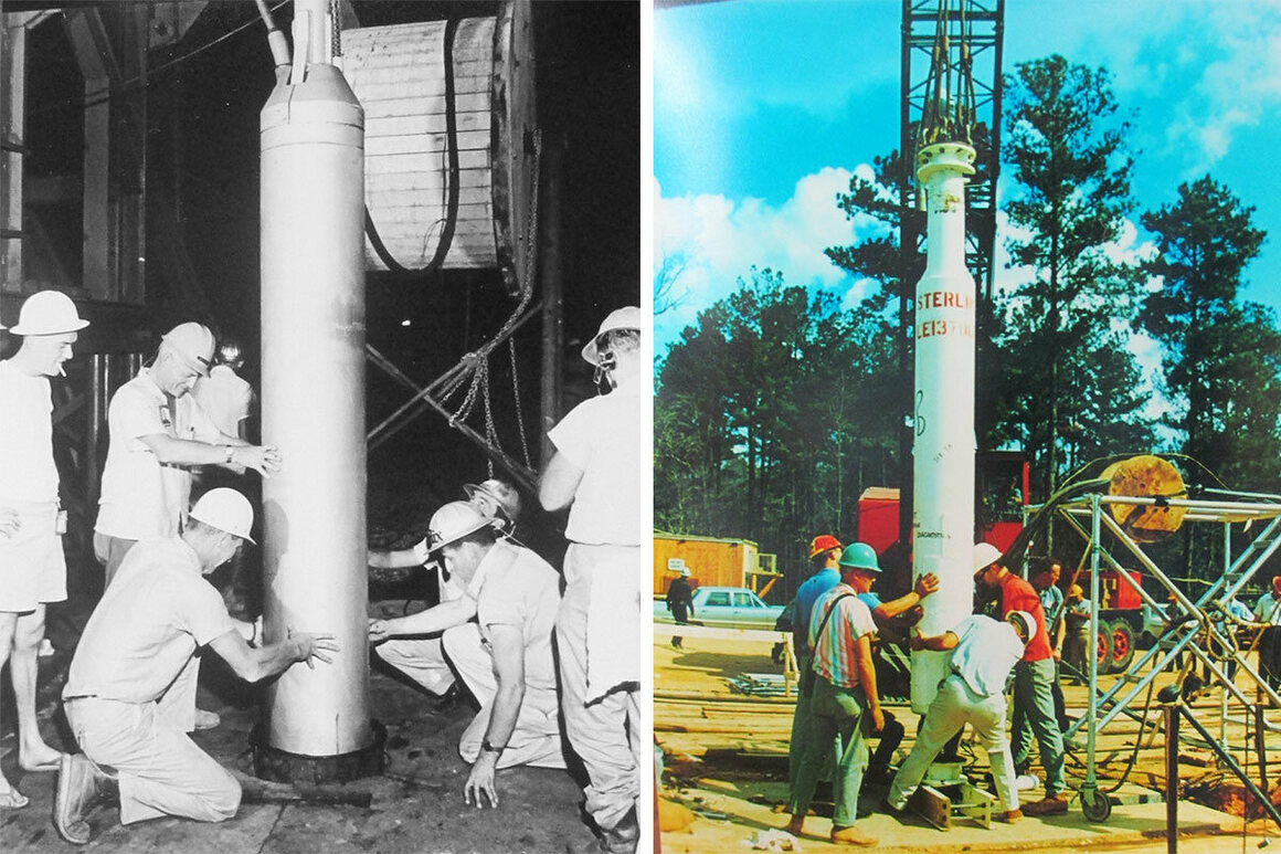 From left: Workers lower the 5.3-kiloton bomb used in the Salmon test into the ground; The second bomb was set off in the cavity gouged out by the first test two years earlier.