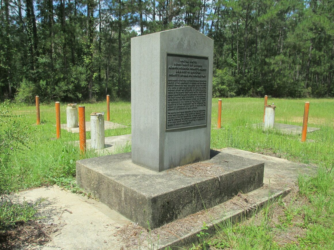 A granite monument surrounded by test wells marks the site of the  nuclear bomb tests in southern Mississippi, code-named Salmon and Sterling.