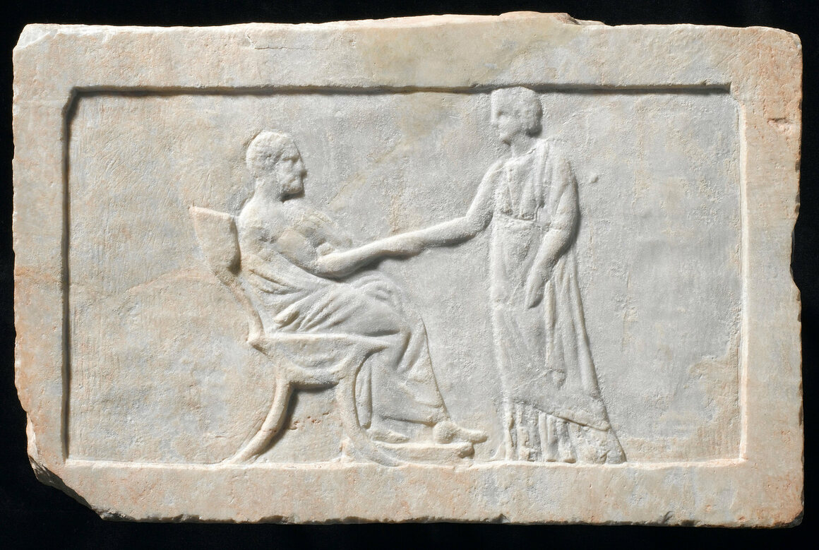 Marble relief marking a grave, Greece, 350-300 B.C., showing a scene of parting and farewell.
