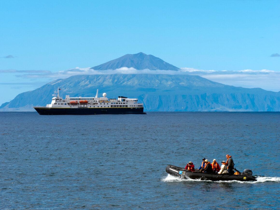 Tristan da Cunha, viewed from Inaccessible Island.