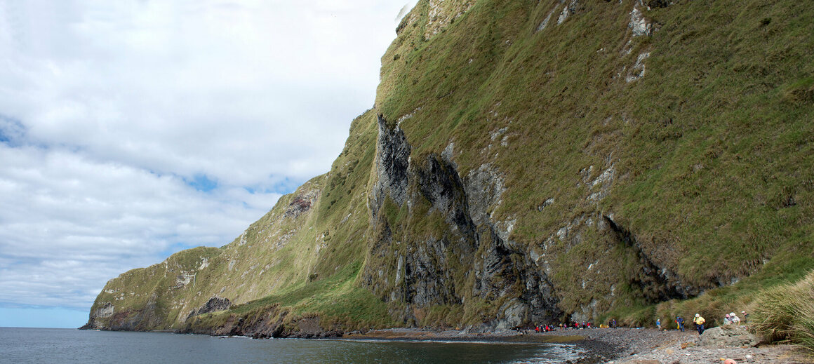 Inaccessible Island's pebbly beach.