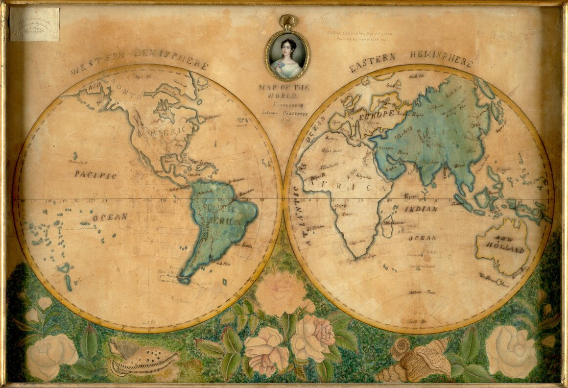 """Juliana Carpenter's """"Map of the World,"""" made c. 1825, when she was 15 years old."""