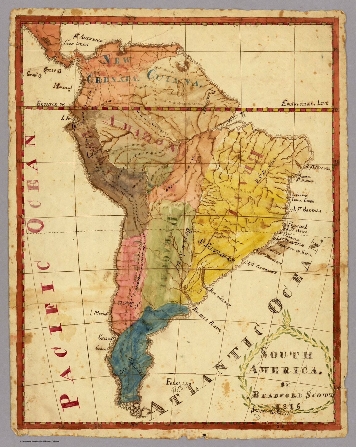 A map of South America, by Bradford Scott, from 1816.