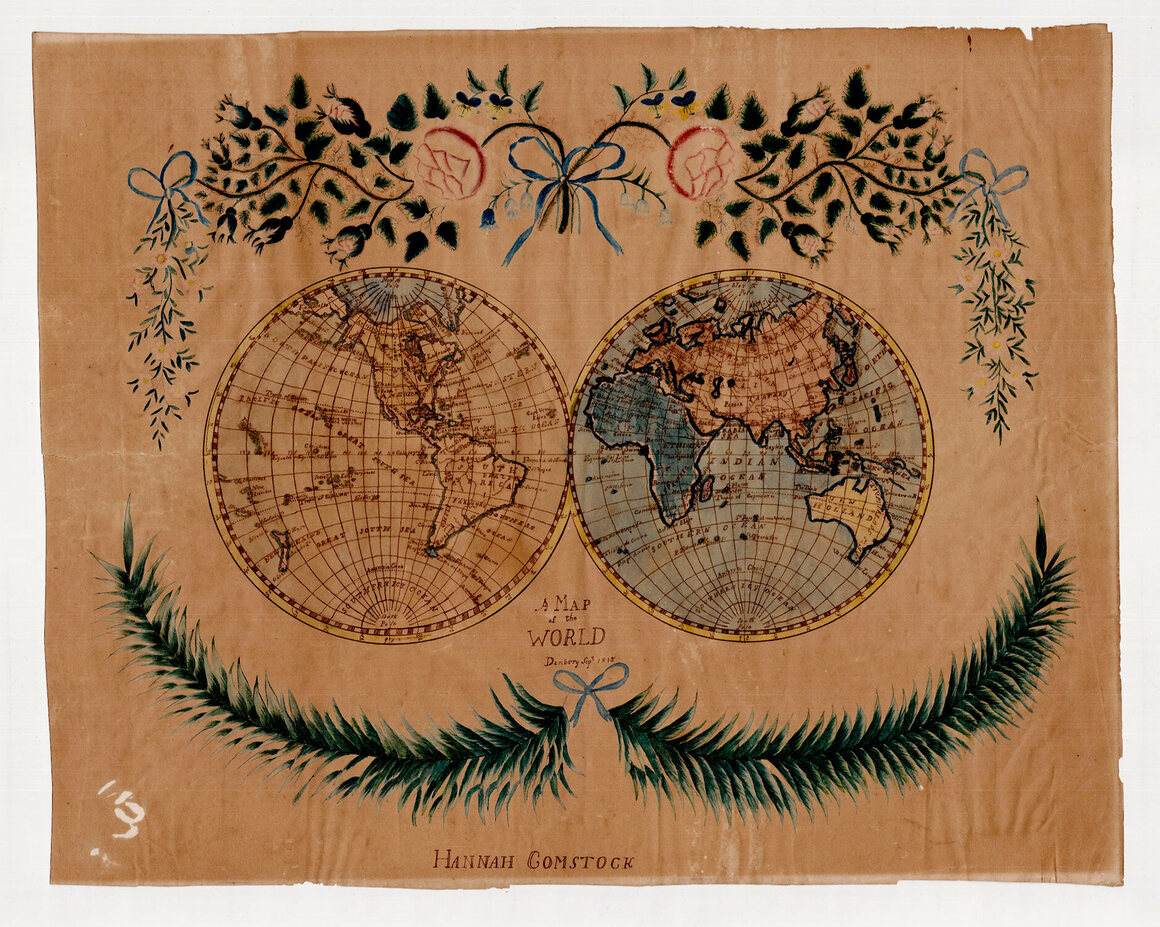 """Hannah Comstock's """"Map of the World,"""" made in 1815."""