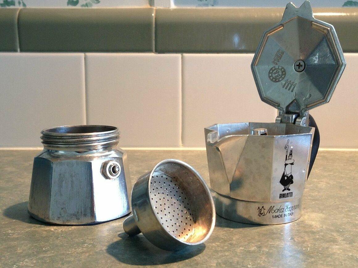 The components of a Moka pot.