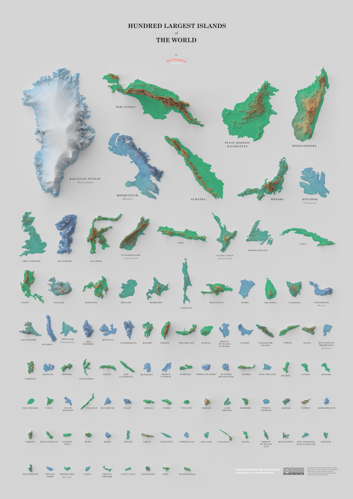 It\'s Not Easy to Map the 100 Largest Islands in the World - Atlas ...