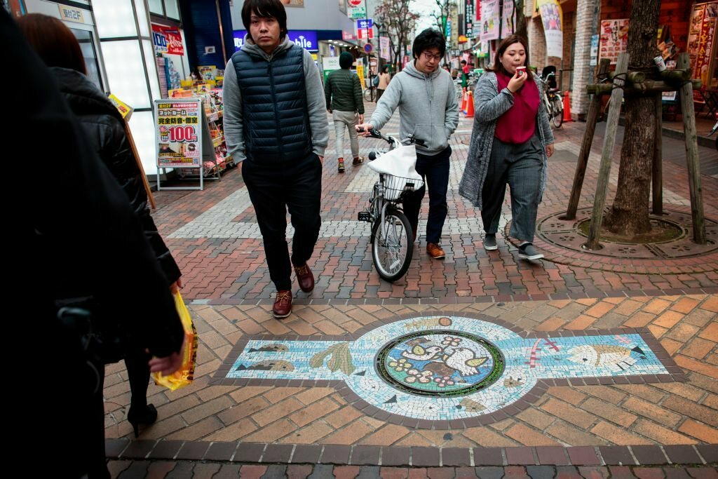 There are some 12,000 different manhole cover designs in Japan, including this one in Kawaguchi.