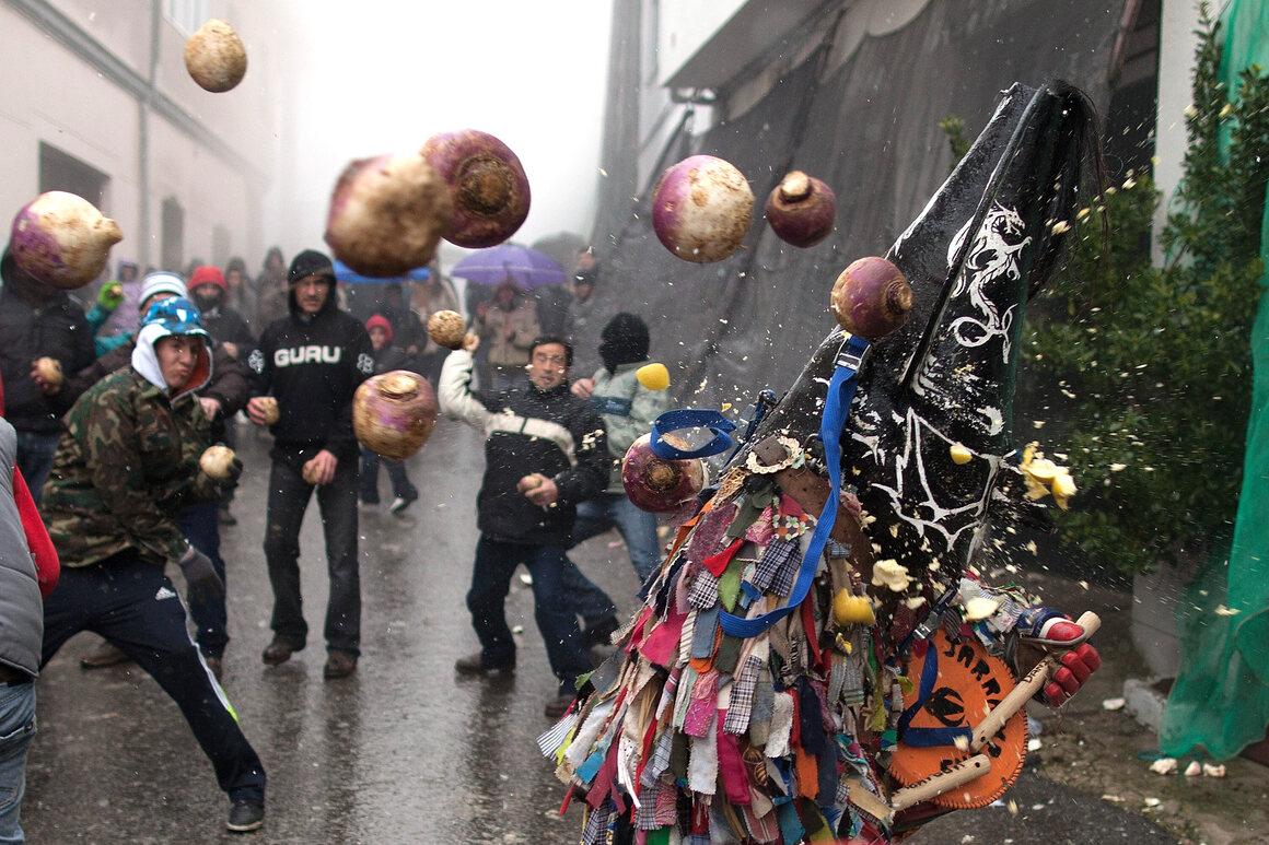 Jarramplas takes a turnip-beating in 2013.