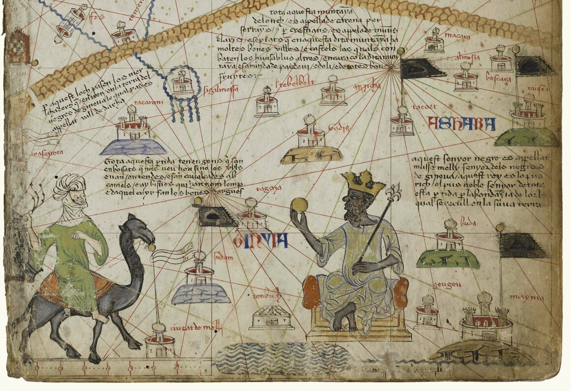 An illuminated atlas depicts Mansa Musa, emperor of Mali from 1312 to 1337, widely known for his vast vast wealth in the form of gold deposits.