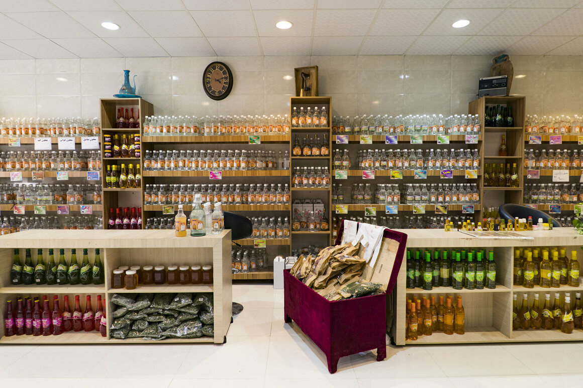 Rosewater products, such as these inside the Shahre Golab Rosewater Store, are sought after by visitors to the town.