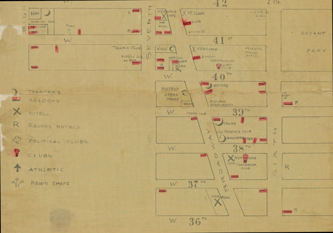 """On this 1899 map of Broadway, Raines hotels are marked with an """"R."""""""