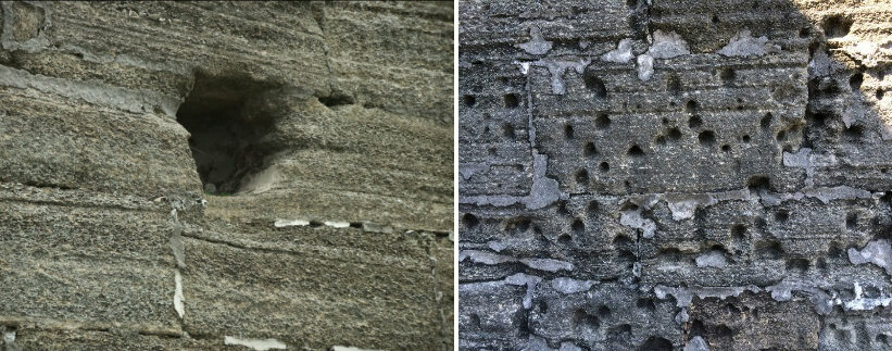Cannonball holes (left) and bullet holes (right) in the walls of the Castillo de San Marcos has no cracks radiating from them.