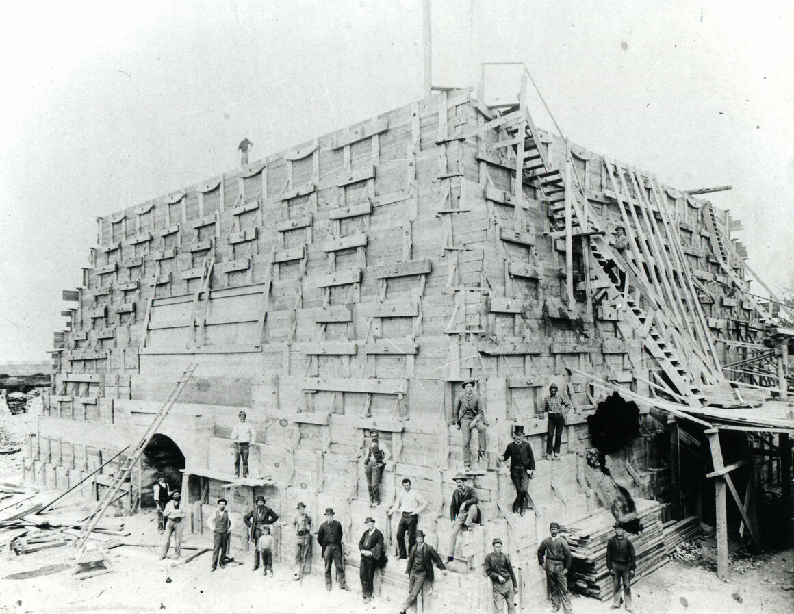 Construction on the pedestal on Bedloe's Island in 1885.