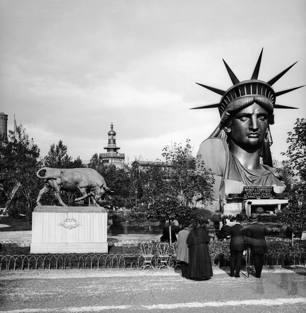 The head of the Statue of Liberty at the 1878 International Exposition in Paris.