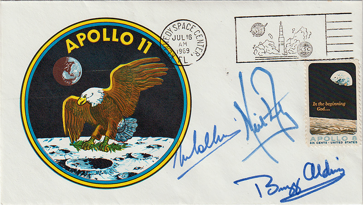 "A ""Type 3"" insurance cover from Apollo 11, the least common of the three types the astronauts signed."