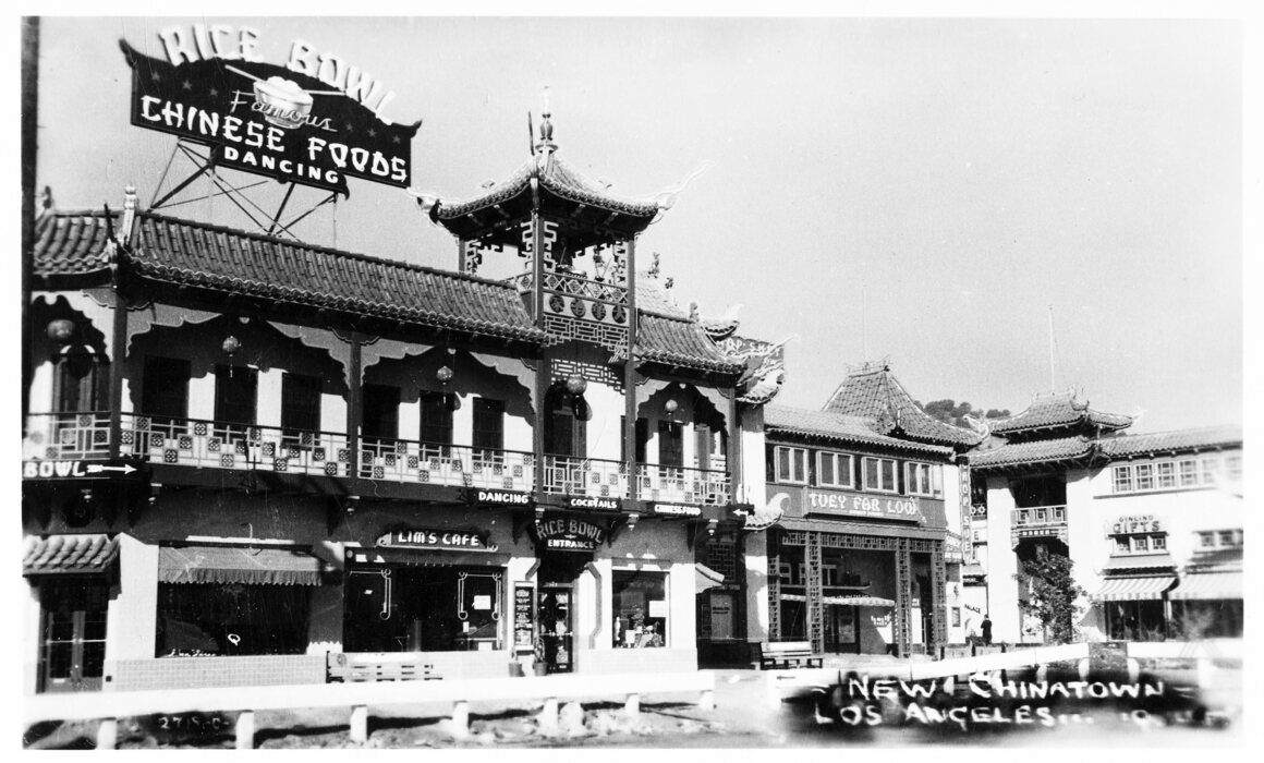 Los Angeles' Chinatown, as depicted on a postcard in 1930. Soon, American Chinese restaurants would be everywhere.