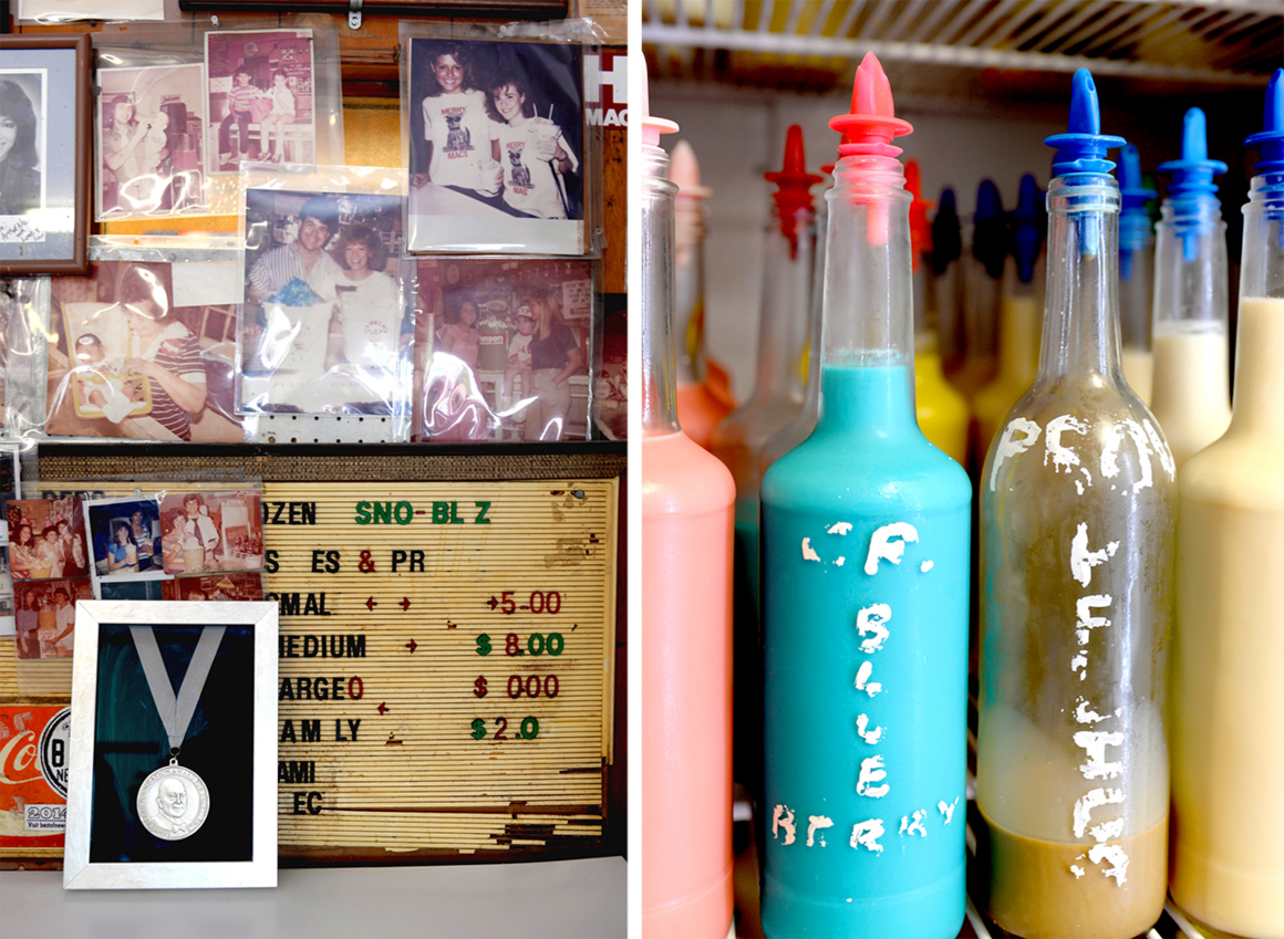 Hansen's history surrounds the shop's 2014 America's Classic award from the James Beard Foundation (left). Decades-old, handwritten labels from the shop's original days are still visible on some syrup bottles (right).