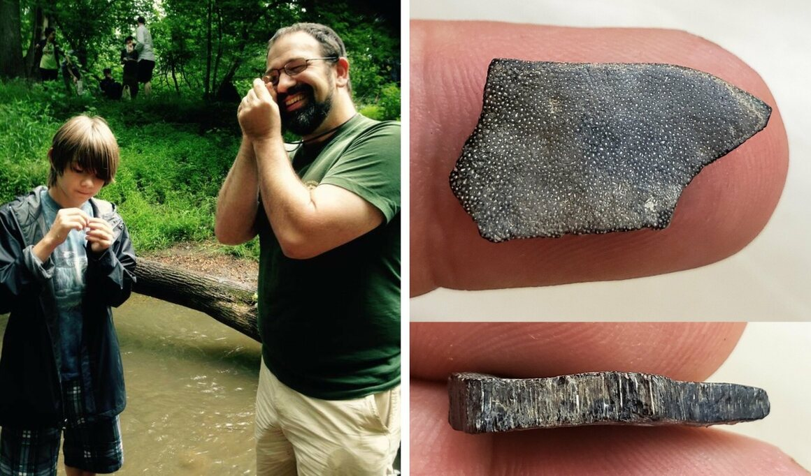 Braden Vande Plasse (with Carl Mehling, in the field) found an unusual prehistoric fish fragment.