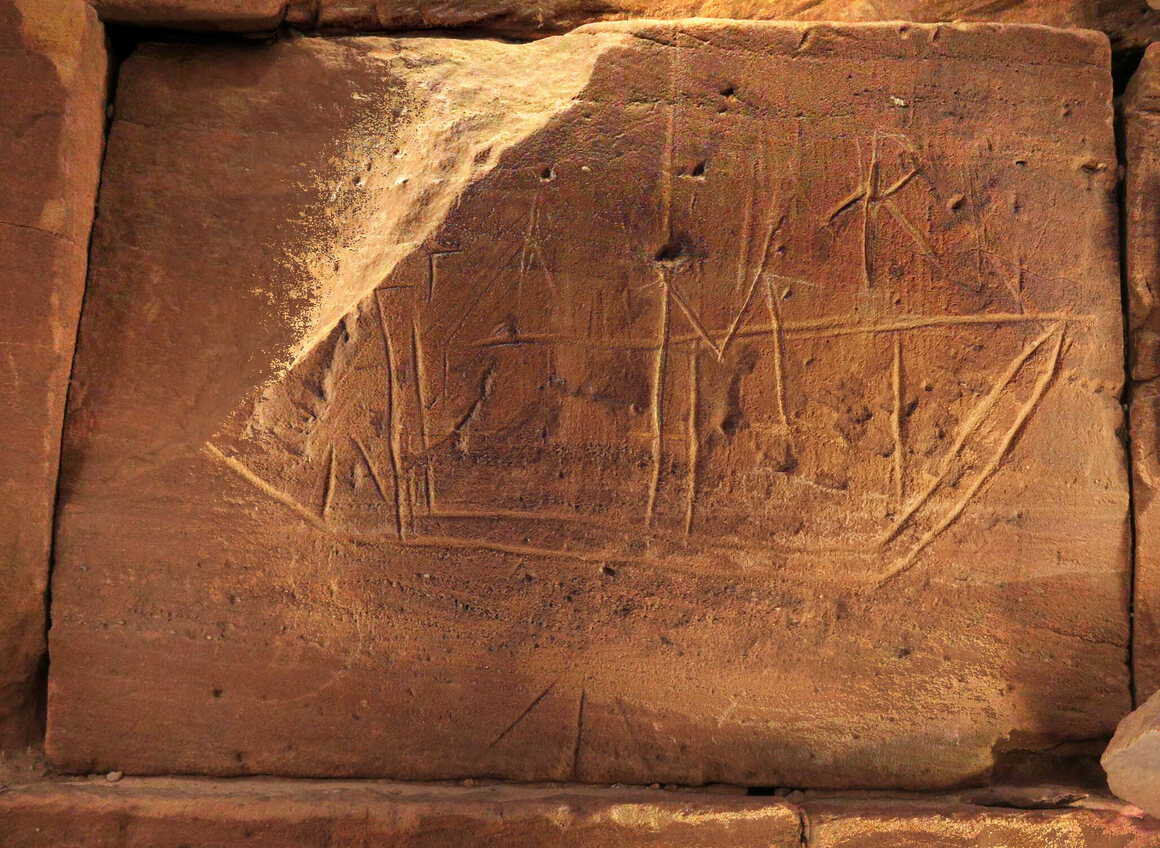 One of            the numerous boats on the pyramid walls, likely made by a            Christian pilgrim.